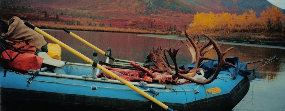 Loaded raft, Alaska float hunt.