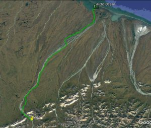 Hike route from landing spot to ocean