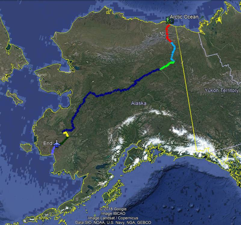 Map of Alaska Traverse 2018