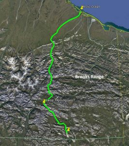 Hike route, June 29 to July 8