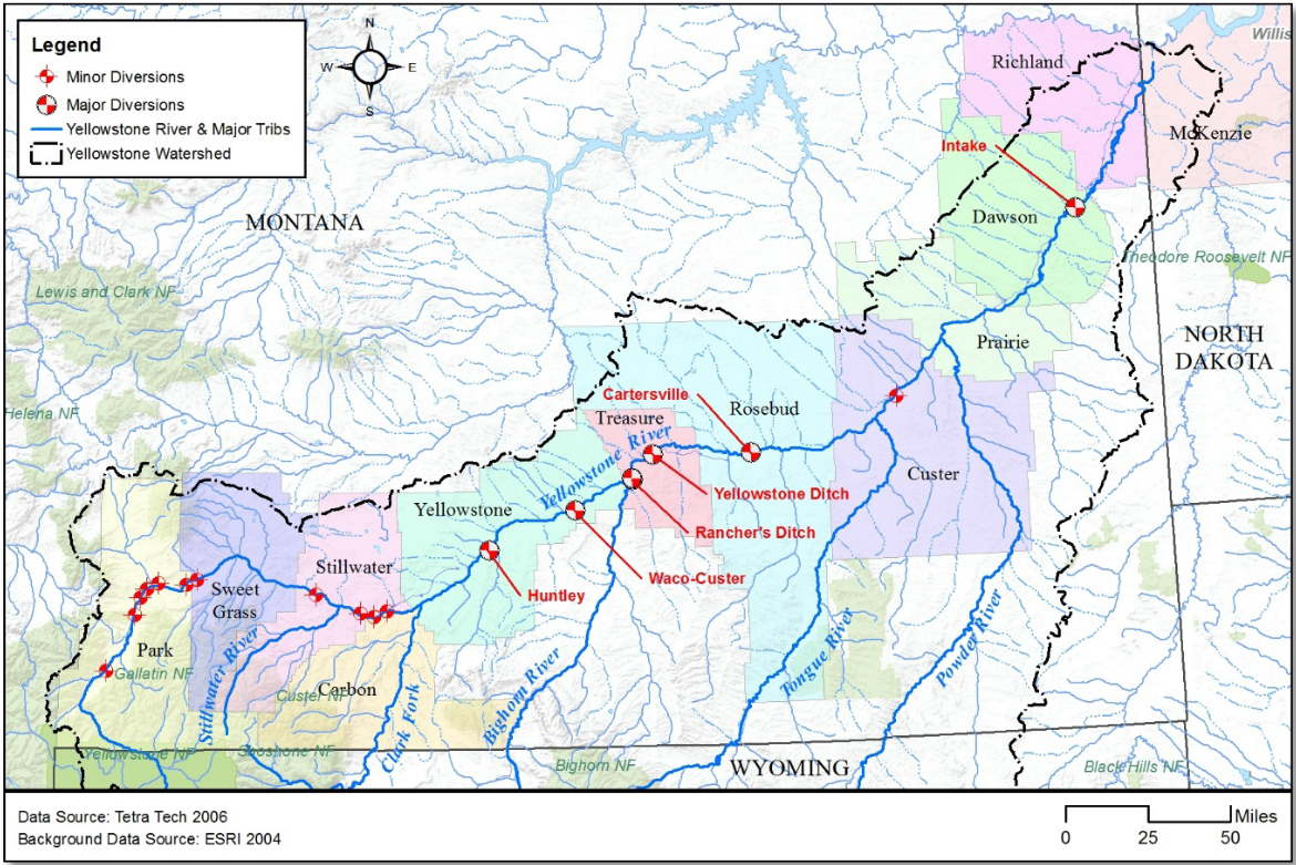 2006 Yellowstone River Diversion Dam map